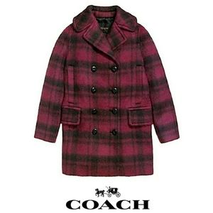 NWT COACH RED CRANBERRY PLAID LONG PEACOAT LARGE